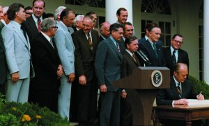 President Ford signing ERISA into law