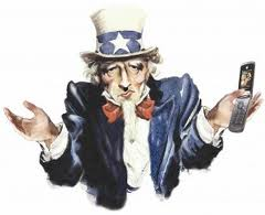 Uncle Sam holding a cell phone